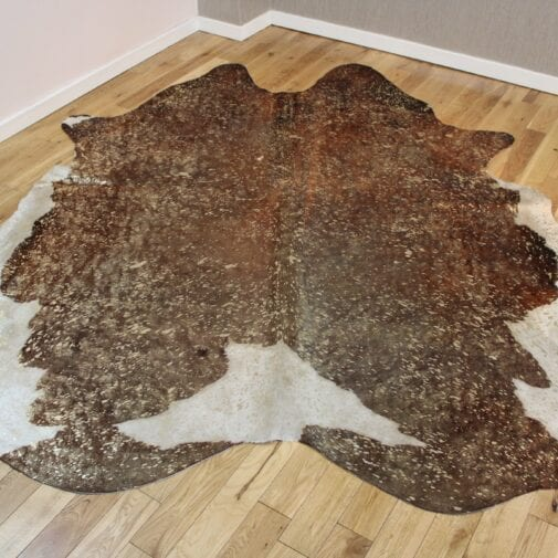 Brown and White – Gold Metallic Cowhide CM261
