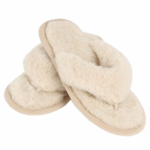 Camel and Merino Wool Flip-Flop Slippers – Beige