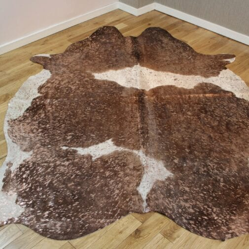 Brown and White Rose-Gold Metallic Cowhide Rug CM252