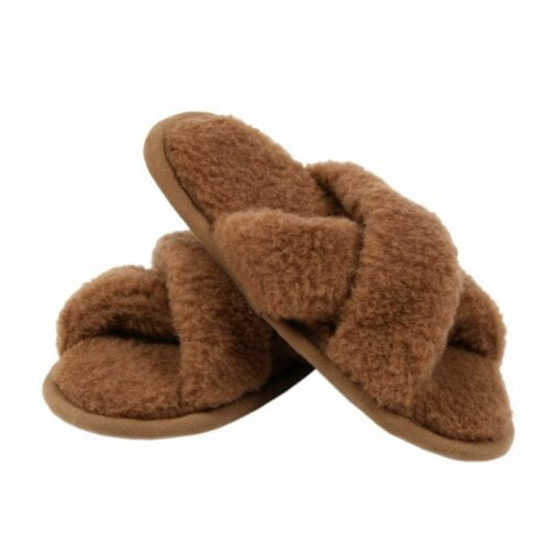 Camel and Merino Wool Unisex Slippers – Brown
