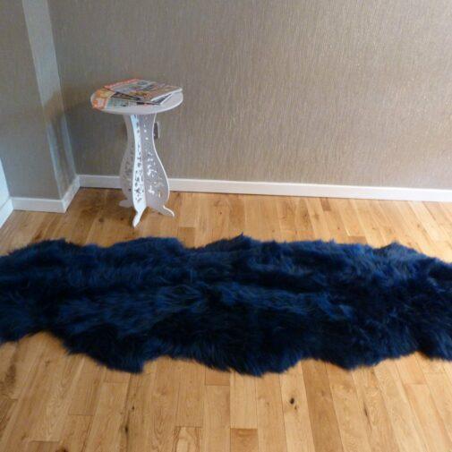British Double Sheepskin Rug Navy Blue