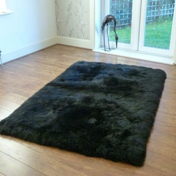 Rectangular Sheepskin Rug Black 120 x180cm