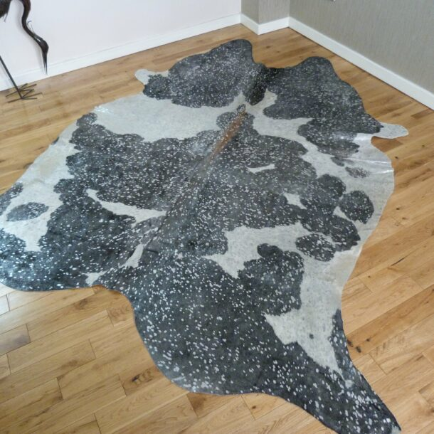 Black and White with Silver Metallic Cowhide Rug CM185