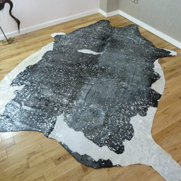 Black and White with Silver Metallic Cowhide Rug CM193