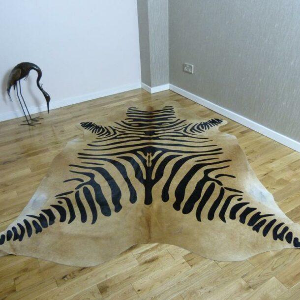 Zebra Print Cowhide Rug C827