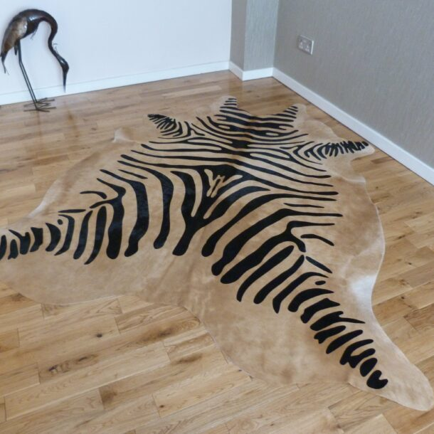 Zebra Print Cowhide Rug C1002