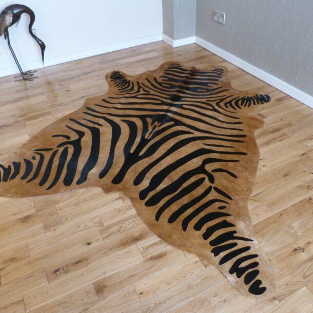 Zebra Print Cowhide Rug C1004