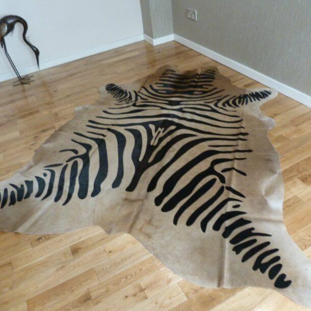 Zebra Print Cowhide Rug C1105