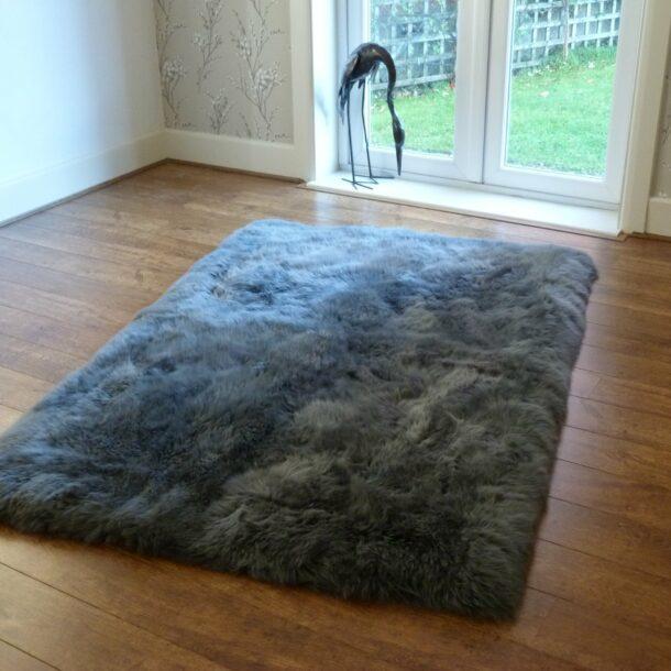 Rectangular Sheepskin Rug GREY 120x180cm