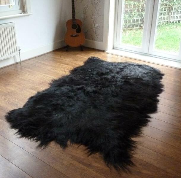 Icelandic Sheepskin Rug 4 Skin Black