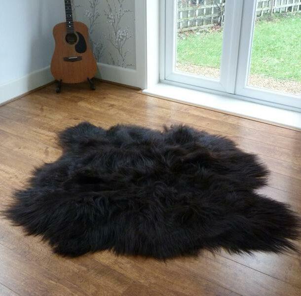 Icelandic Sheepskin Rug 2 Skin Black