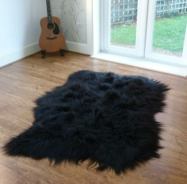 Icelandic Sheepskin Rug 3 Skin Black