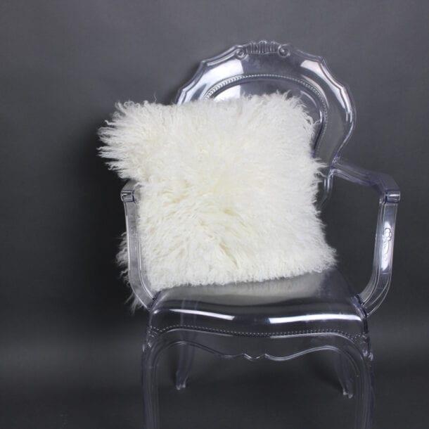 Mongolian Sheepskin Cushion Ivory