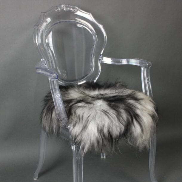 Icelandic Sheepskin Chair Pad Silver Dark Tops