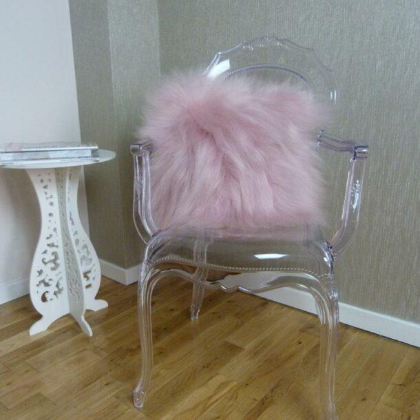 Icelandic Sheepskin Cushion Pale Pink