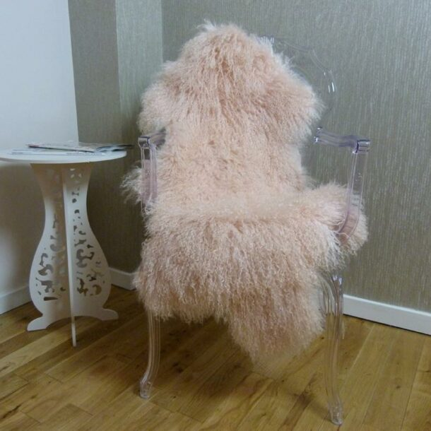 Mongolian Lambskin Rug Blush Pink