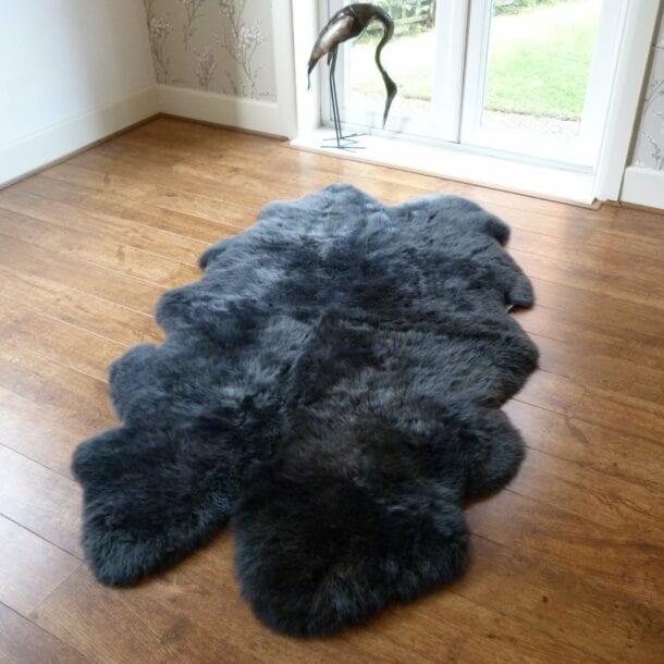 Sheepskin Rug Quad Dark Grey