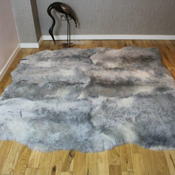 Icelandic Sheepskin Rug 6 Skin Natural Grey Shorn ISNG6S01