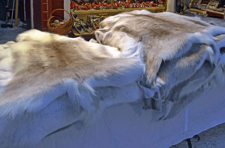 Reindeer Pelts Sold at a Market