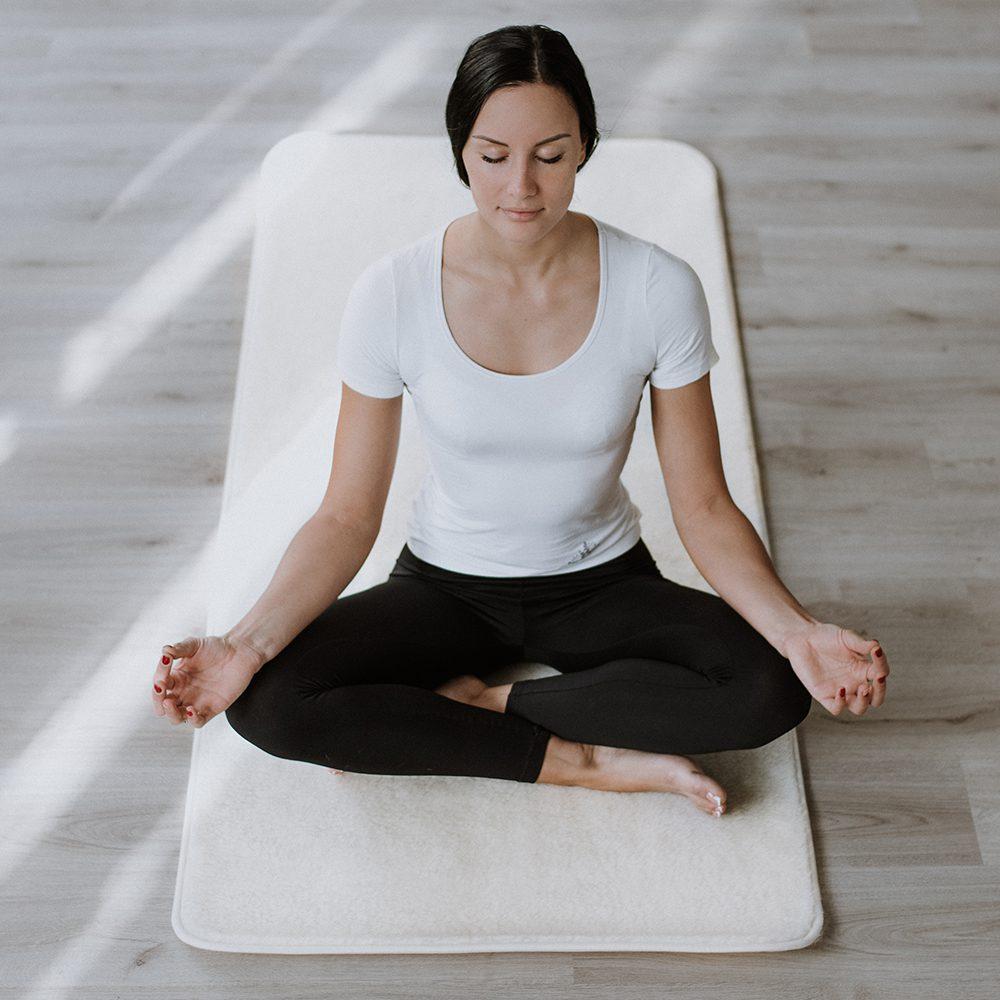 Sheepskin yoga mat